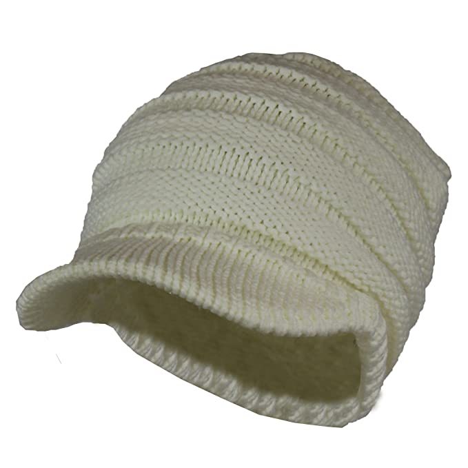 a14a4a78f55 Ivory Cable Ribbed Knit Beanie Hat w  Visor Brim