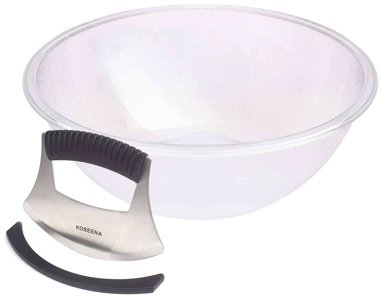 KOSEENA-Salad Chopper and Bowl-Durable Bowl-Sharp Blade Cuts Hard Veggies-Chopped Salad Bowl and Chopper-Salad Cutter-Salad Maker