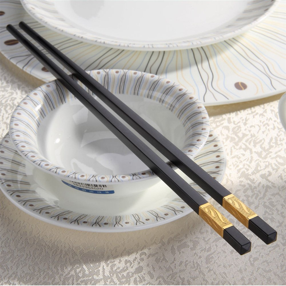 Melamine Chopsticks. Reusable Luxury Chopstick Set. A Wooden Replacement Made With Non-Toxic Dishwasher Safe Melamine. (Black 5 Pairs)