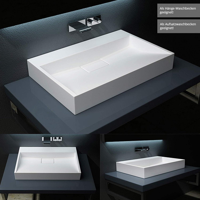 haut 11 cm Lavabo vasque /à poser///à monter au mur /évier fonte min/érale Colossum 19-600 blanc Larg 60 cm rectangulaire prof 38 cm