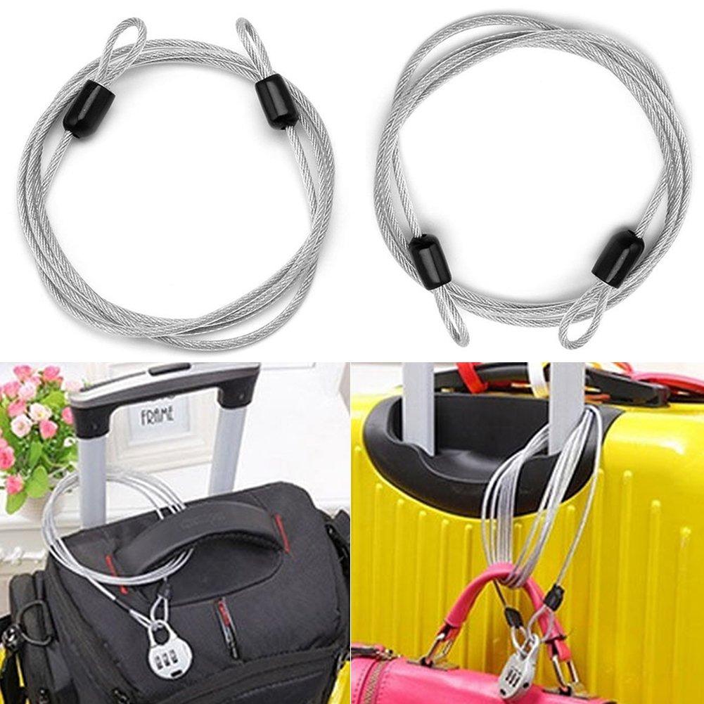 geflochtenes Stahl-beschichtetes Fahrradschloss 100 x 0,2 cm 2 mm x 39 Zoll silberfarben Sicherheits-Kabelschloss mit Doppelschlaufe