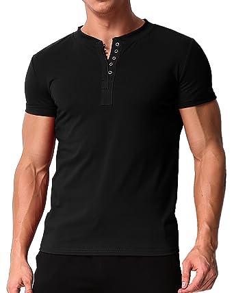 a439f658 MODCHOK Men's Short Sleeve Henley T Shirt Round Neck Button Slim Fit Tops  Blouse 1Black S