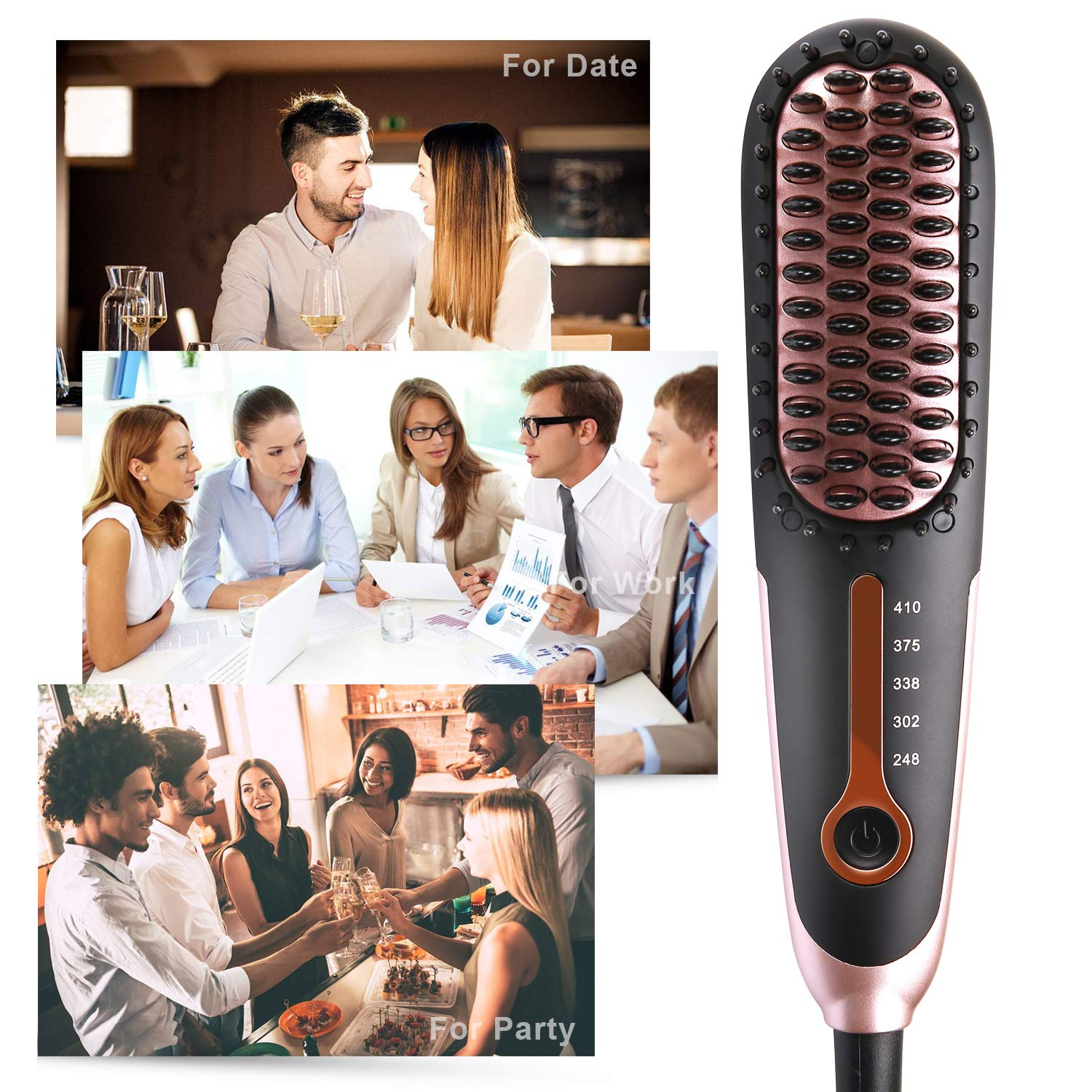 Straightening Brush 3.0, Buture Mini Hair Straightener Brush Ceramic Heating Ionic Hair Straightening Brush for Travel with Anti-scald MCH 110-240V Auto Shut Off Temperature Lock Black and Pink by BuTure (Image #8)