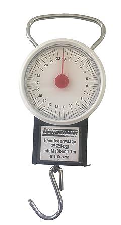 Bascula resorte con gancho – Balanza de muelle con cinta métrica (hasta 22 kg)