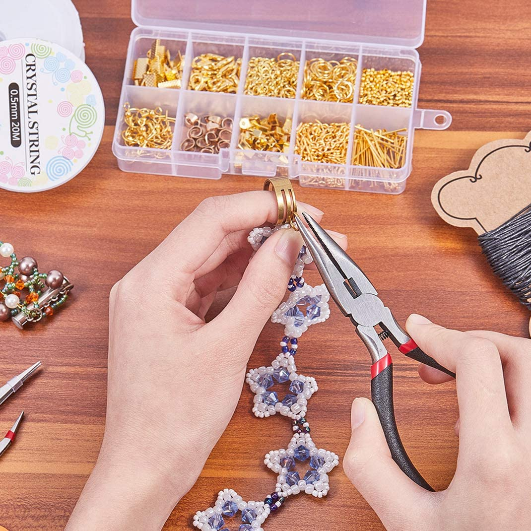 Kit de fabricaci/ón de joyas pinzas incluye alicates accesorios de plata y cables dorados Kit de reparaci/ón de joyas para hacer joyas accesorios de inicio
