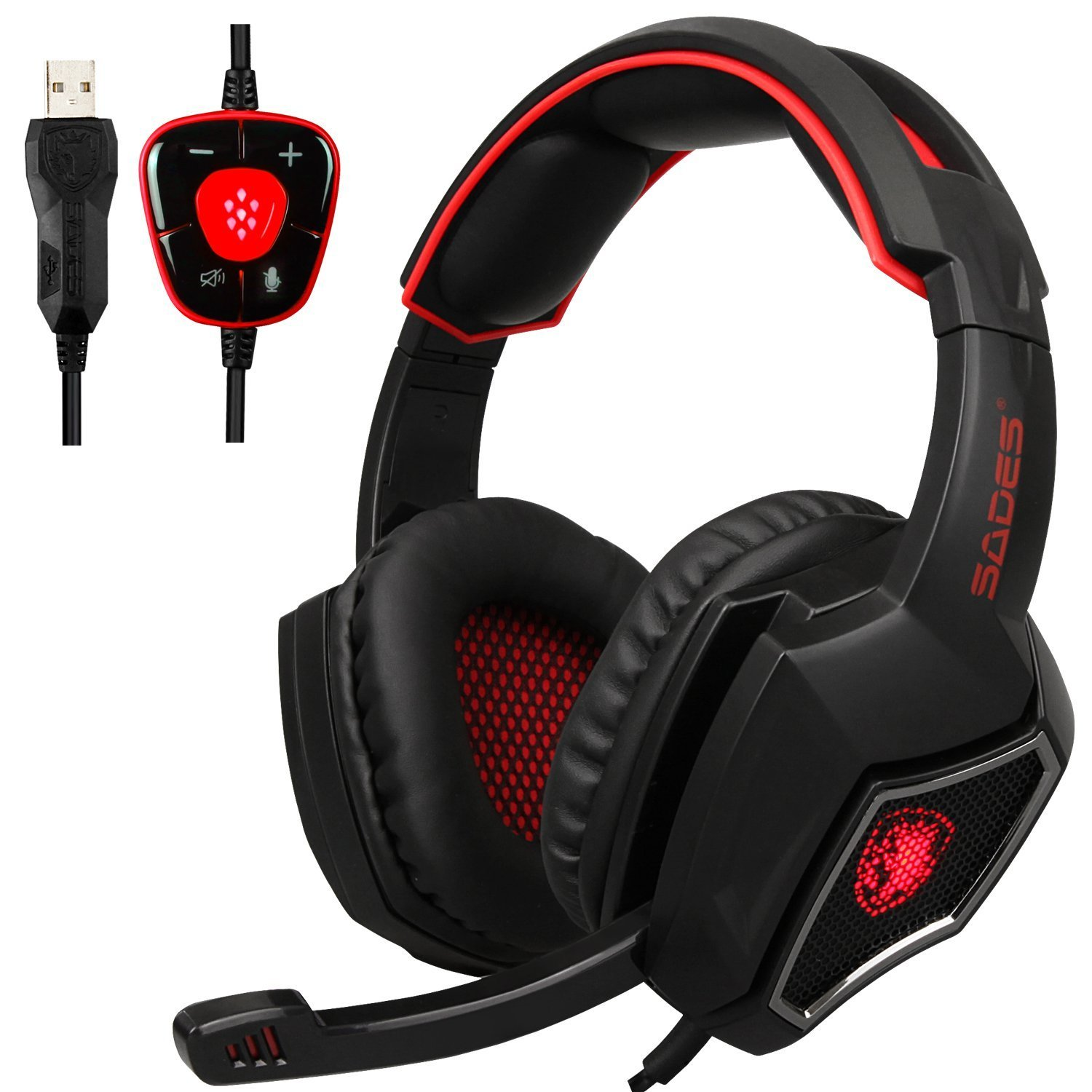 Yanni Sades Spiritwolf Usb Version Pc Computer Over Ear Earphone Headset Asus Stereo Oem Gaming 71 Surround Sound Headphone With Mic Noise Reduction
