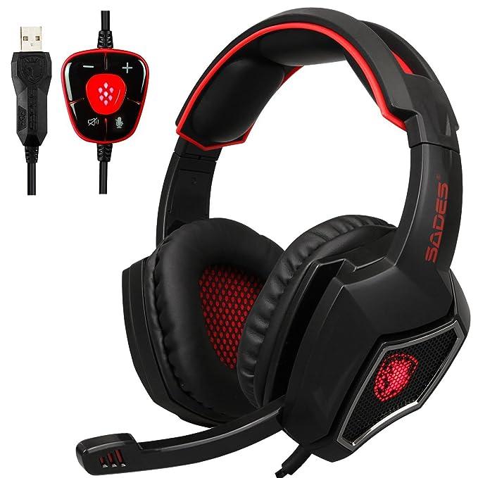 Yanni Sades 7,1 Sonido Envolvente USB Over Ear Stereo Gaming Headset Auriculares Diadema con Micrófono Control de Volumen cancelación de Ruido para ...