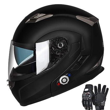 2d2e548c Motorcycle Bluetooth Helmets, FreedConn BM2 Flip up Dual Visors Full Face  Helmet,Built-