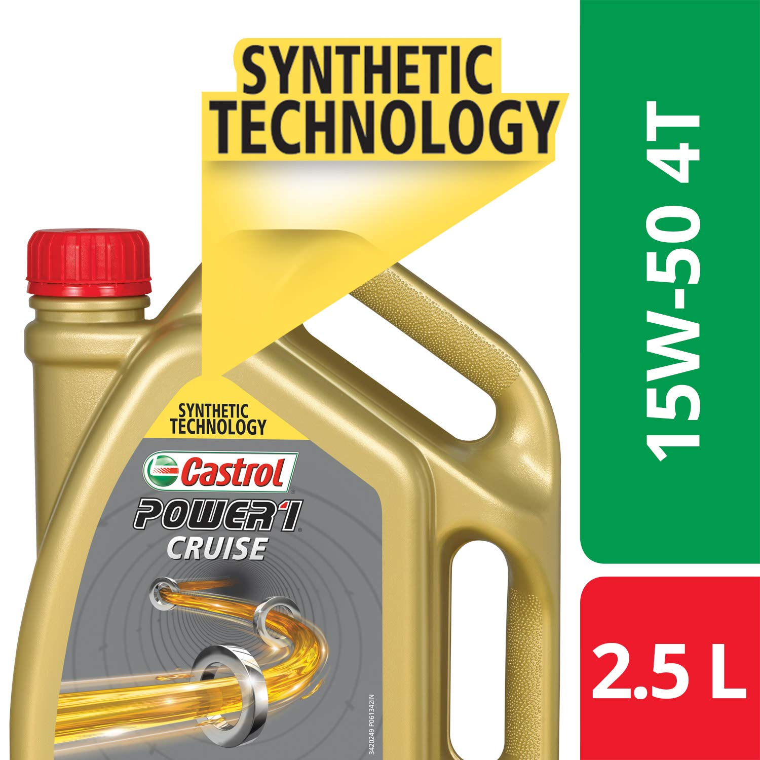 Castrol POWER1 Cruise 4T 15W-50 API SN Synthetic Engine Oil for Bikes (2.5L) product image