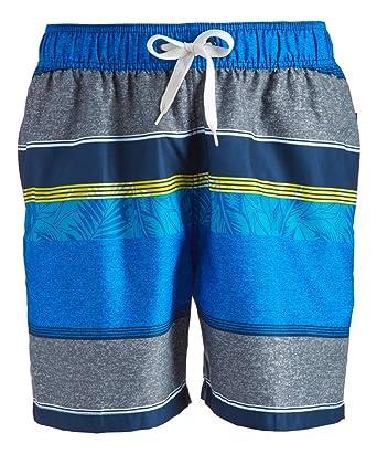 051361d627 Kanu Surf Men's Fusion Stripe Quick Dry Beach Volley Swim Trunk, Blue/Gray,