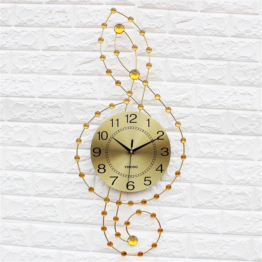 ゴールデンクリエイティブな時計リビングルームモダンなミニマムなベッドルームミュートパーソナリティメタルウォールクロック B07D1Q1F73