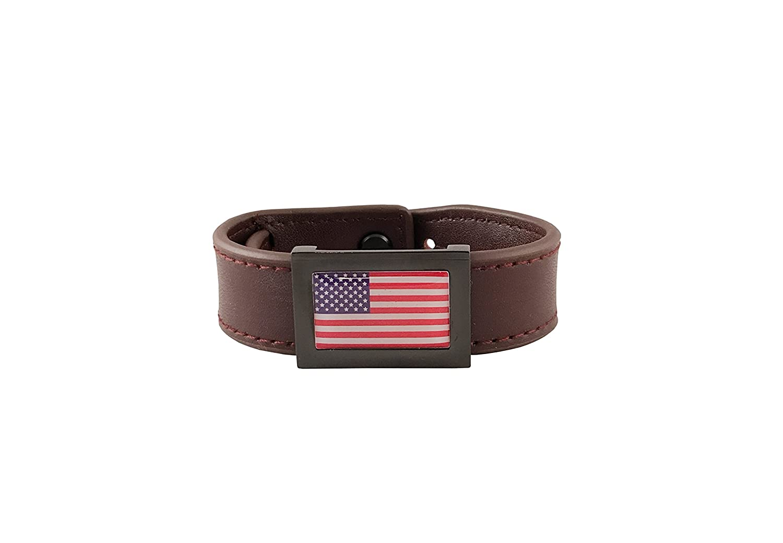 Freedom Bands FB-DB-USA Dark Brown American Flag Inset 189enterprises Black Buckle
