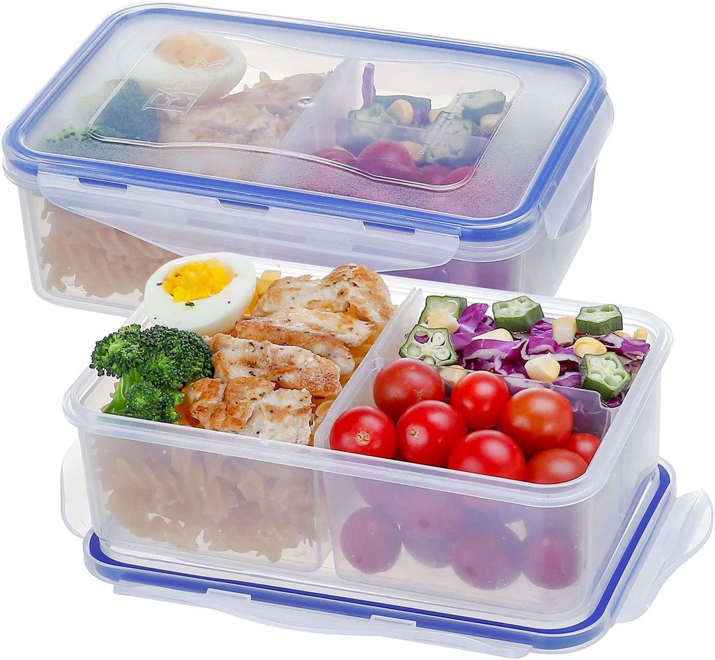 [2 Pack] Plastic Airtight Food Storage Containers BPA-Free 3 Compartment Bento Boxes Meal Prep Containers for Kitchen and Office,1150ML/38oz