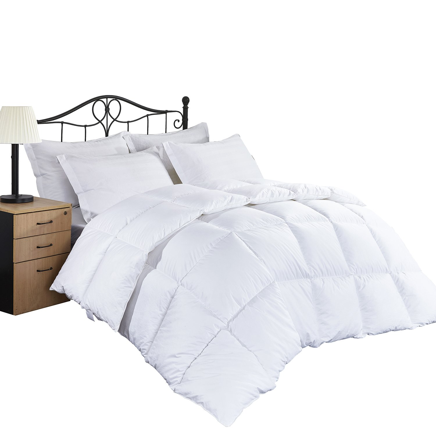 Queen Comforter Soft Down Alternative Quilted - Microfiber Fill- Reversible Cooling Duvet Insert Set- 8 Corner Duvet Tabs -Summer&All Seasons - Hypoallergenic -Fluffy Warm White 88 by 88 Inches