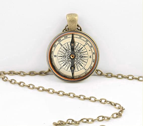 Vintage Compass True North Necklace Jewelry Or Key Chain Ring