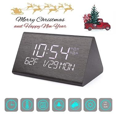 Digital Alarm Clock, Adjustable Brightness Voice Control Desk Wooden Alarm Clock, Large Display Time Temperature USB/Battery Powered for Home, Office, Kids