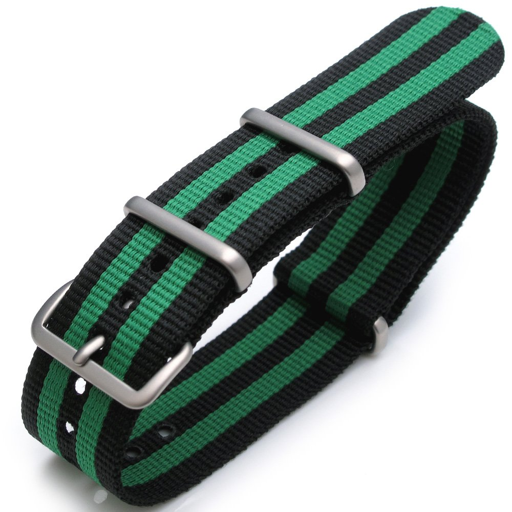 22mm G10 Nato James Bond Heavy Nylon Strap Brushed Buckle - J08 Double Black & Green