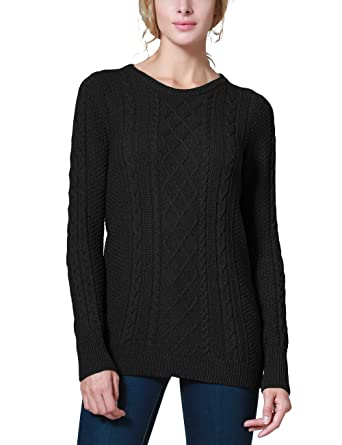 Rocorose Women's Crew Neck Cable Knitted Long Sleeve Tunic ...