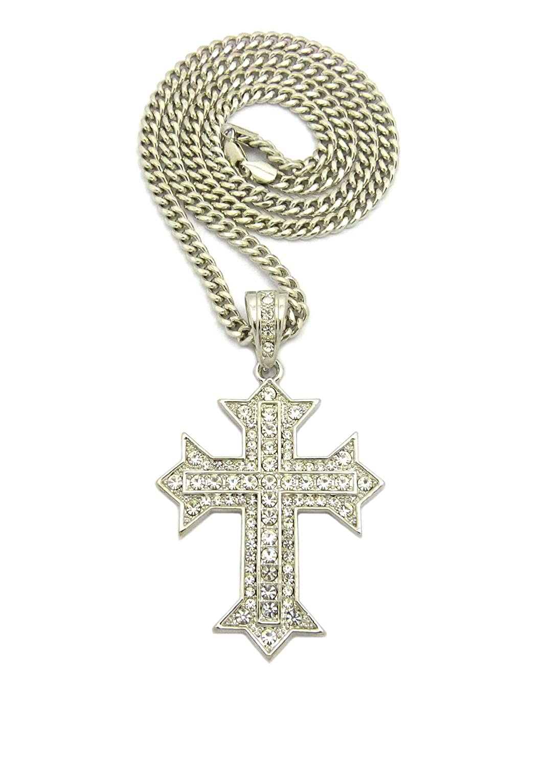 Fashion 21 Hip Hip Iced Out Cross Pendant 6mm 36 Cuban Chain Necklace in Silver Color Plated