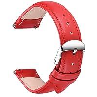 Echtes Leder Uhrenarmband, SONGDU Smart Watch Armband Schnellverschluss Ersatzband für Herren Damen mit Edelstahl Metall Schließe 16mm, 18mm, 20mm, 22mm, 24mm