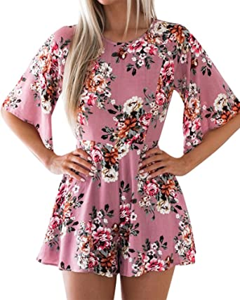 b203bd36288 Aro Lora Women s Casual Floral Print Backless Ruffle Half Sleeve Slim Short  Jumpsuit Rompers Small Pink