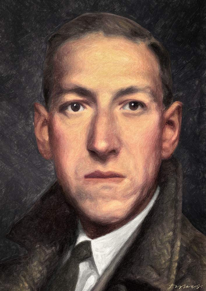 Zapista H.p. Lovecraft Painting Fine Art Print Unique Horror Literature Artwork Writer Poster Home Wall Decor Unframed (11.375