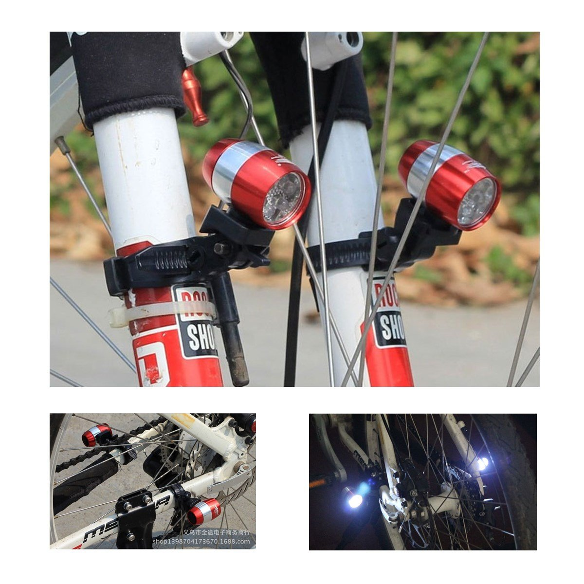 LIKE CYLING AI 6 LED Bike Lights Set Bicycle Waterproof USB Rechargeable Back(Red) Lamp Cycling Flashlight Lights Sets 2pcs