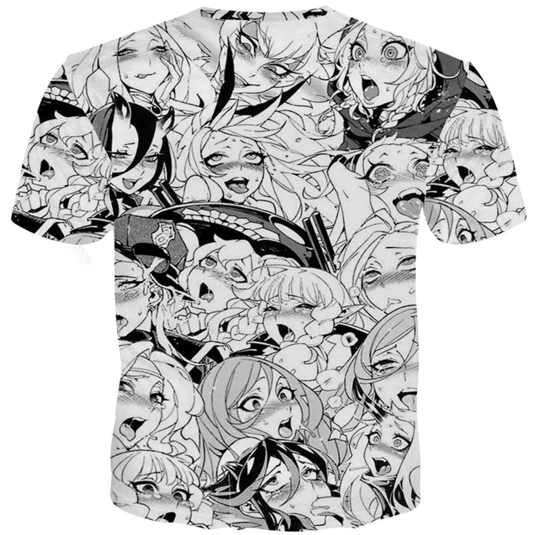 KAKAROER Anime Ahegao 3D Funny Shy Girl Face Unisex T-Shirt