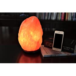 WBM Himalayan Glow Hand Carved Natural Crystal Himalayan Salt Lamp with Genuine Neem Wood Base, Bulb and Dimmer Control