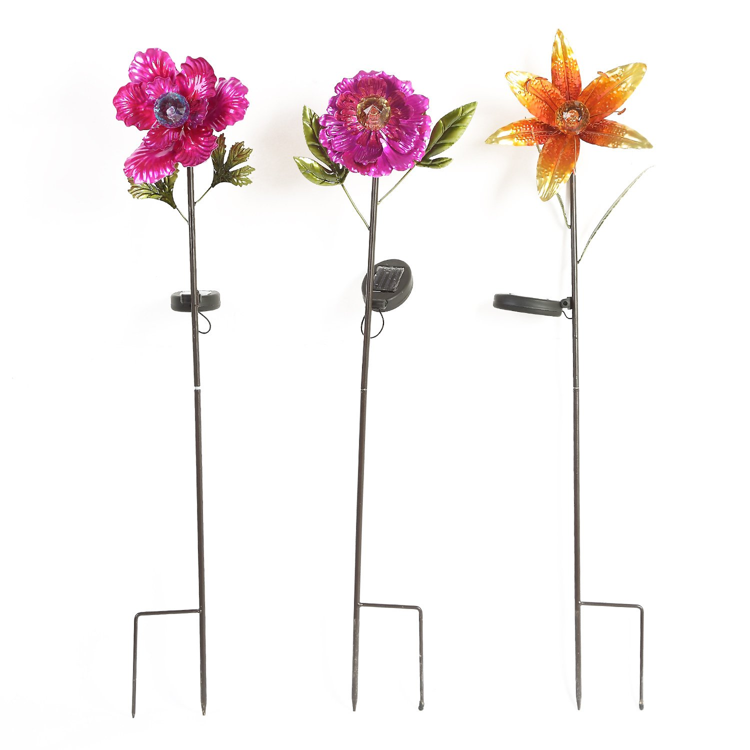 Ivy Home Solar Garden Stake Outdoor Decorative Metal Plastic Spring Flower for Lawn Yard Patio, 3 Assorted