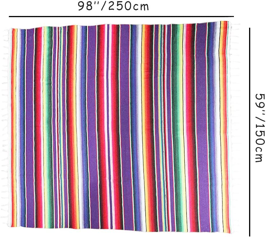 Large Square Fringe Cotton Mexican Serape Blanket Bright Colors Table Cover Table Cloth Picnic Mat Green Eccbox 84 x 59 Inch Mexican Tablecloth for Mexican Wedding Party Decorations