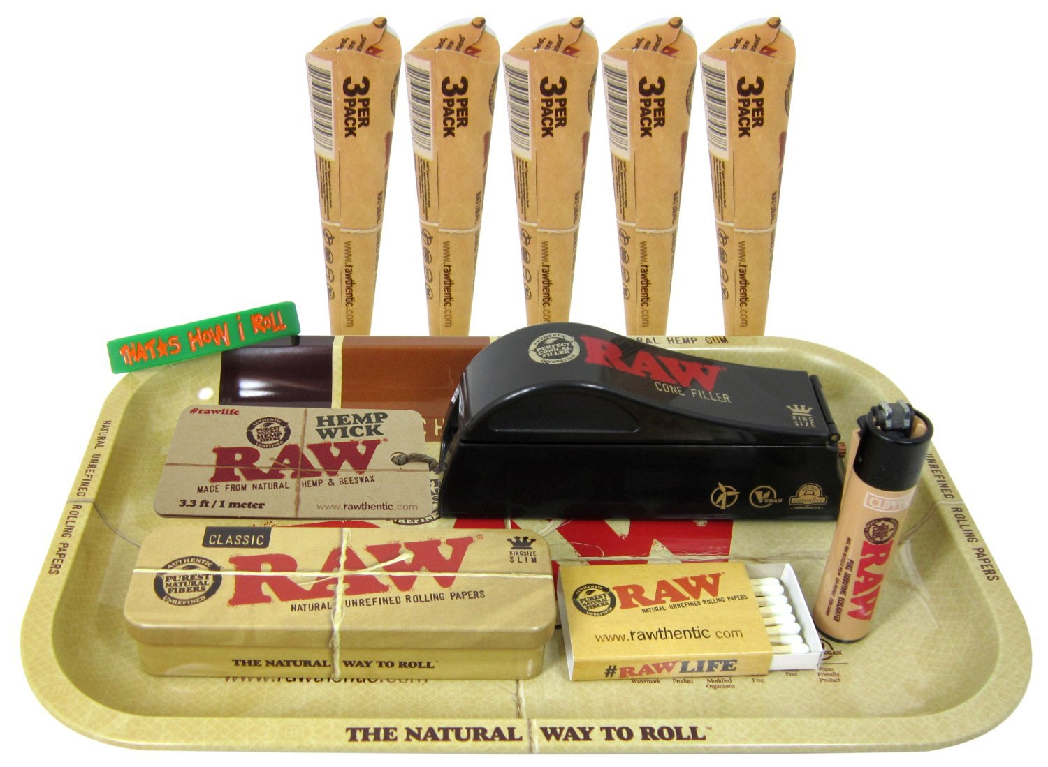 Bundle - 12 Items - RAW King Size Cone Filler with Pre Rolled Cones, Tin, Hemp Wick, Rolling Tray and More by RAW