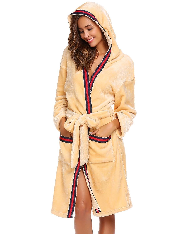 Goldenfox Women Hooded Long Sleeve Winter Warm Sleepwear Robe with Belt S-XL GAMK007542#