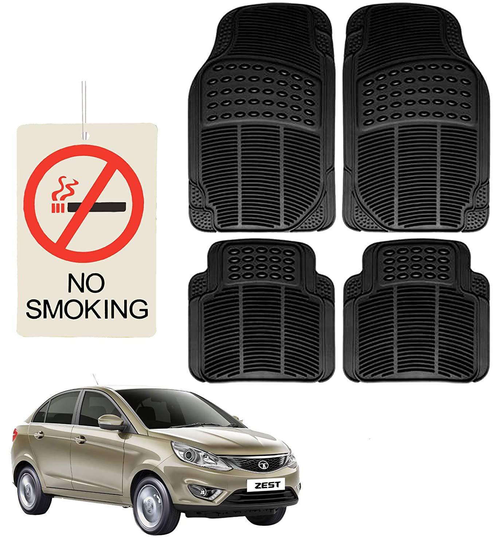 (4 Pcs) Car Rubber Foot/ Floor Anti- Slip Mats Set with No Smoking Hanging Air Freshner for TATA Zest