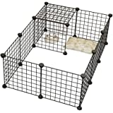 Dog Playpen By KOUSI Portable Large Metal Wire Pet Indoor Yard Fence for Small Animals Popup Kennel Crate Guinea Pigs Rabbit Puppy Tent - Black 12 Panels