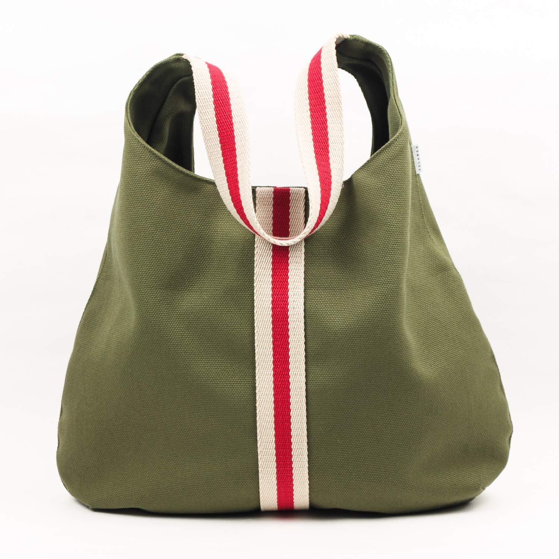 Bolso color Kaky en loneta de algodón con asa a rayas crudo y rojo ...