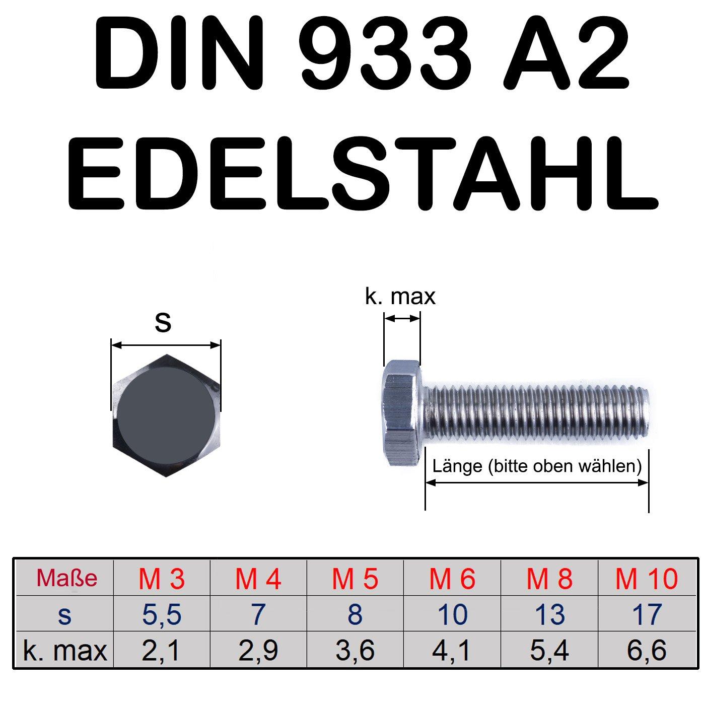 Muttern Din 933 M8 x 16 10  V2A Schrauben Scheiben