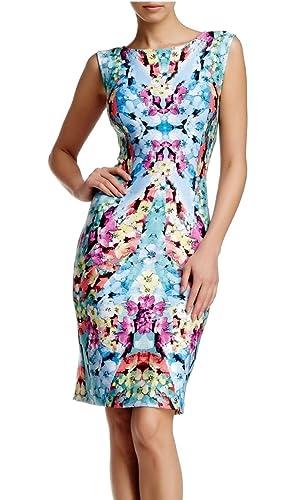 Adrianna Papell Floral Print Scuba Midi Dress