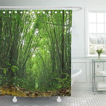 Fresh Bamboo Forest Design Shower Curtain Bathroom Waterproof Fabric 72 inch