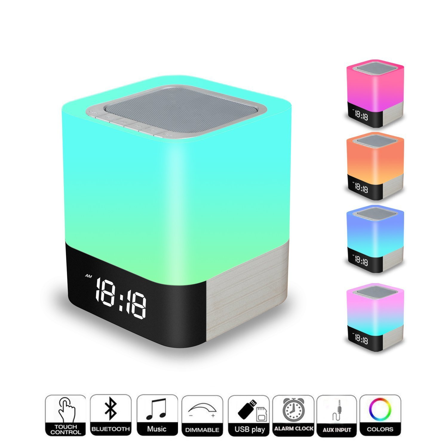 Portable Bluetooth Speaker + LED Night Light Lamp, with LED Display, Handsfree Speakerphone, Alarm Clock, Micro SD Card & USB & AUX Slots for Smart Phone, MP3, iPad, Tablet and More (10 hrs Playtime)