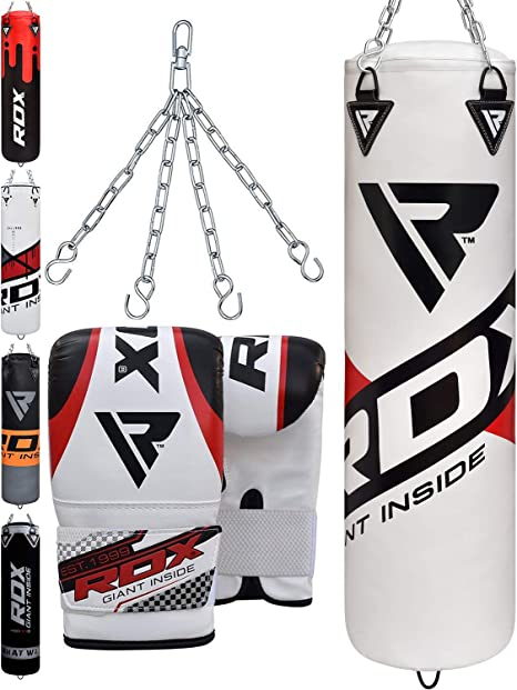 RDX. Pack de boxeo de 13 x piezas. Saco de boxeo MMA de 120/ 150 cm. Guantes de boxeo. Saco de boxeo de pie. Con ganchos para el techo, Noir/Blanc-, 4 ft: