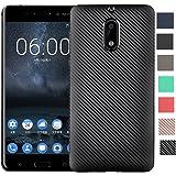 "Nokia 6 Case, Dretal [Shock Resistant] Flexible Soft TPU Brushed Anti-fingerprint Full-body Protective Case Cover For Nokia 6 (5.5"") (Carbon Fiber Case Black)"
