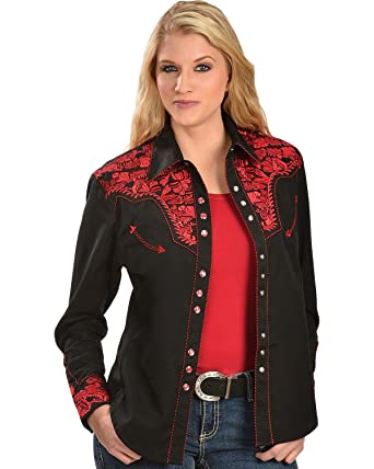 b4d0c8ad Scully Women's Floral Embroidered Western Shirt at Amazon Women's ...