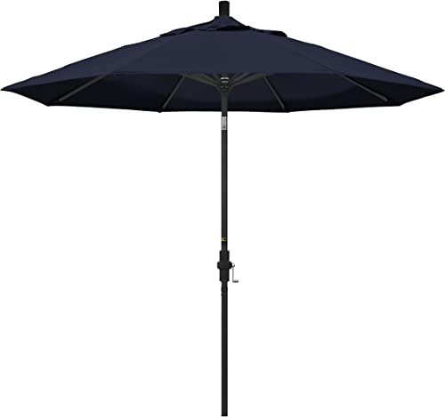 California Umbrella 9 Round Aluminum Market Umbrella, Crank Lift, Collar Tilt, Black Pole, Pacifica Navy Blue