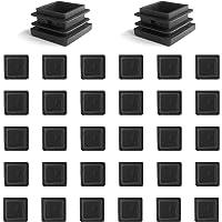 YouU 30 piezas Tapón de plástico cuadrado Mobiliario negro Silla de la pierna Pata del pie Tapa Tubo Insertos Tapa final…