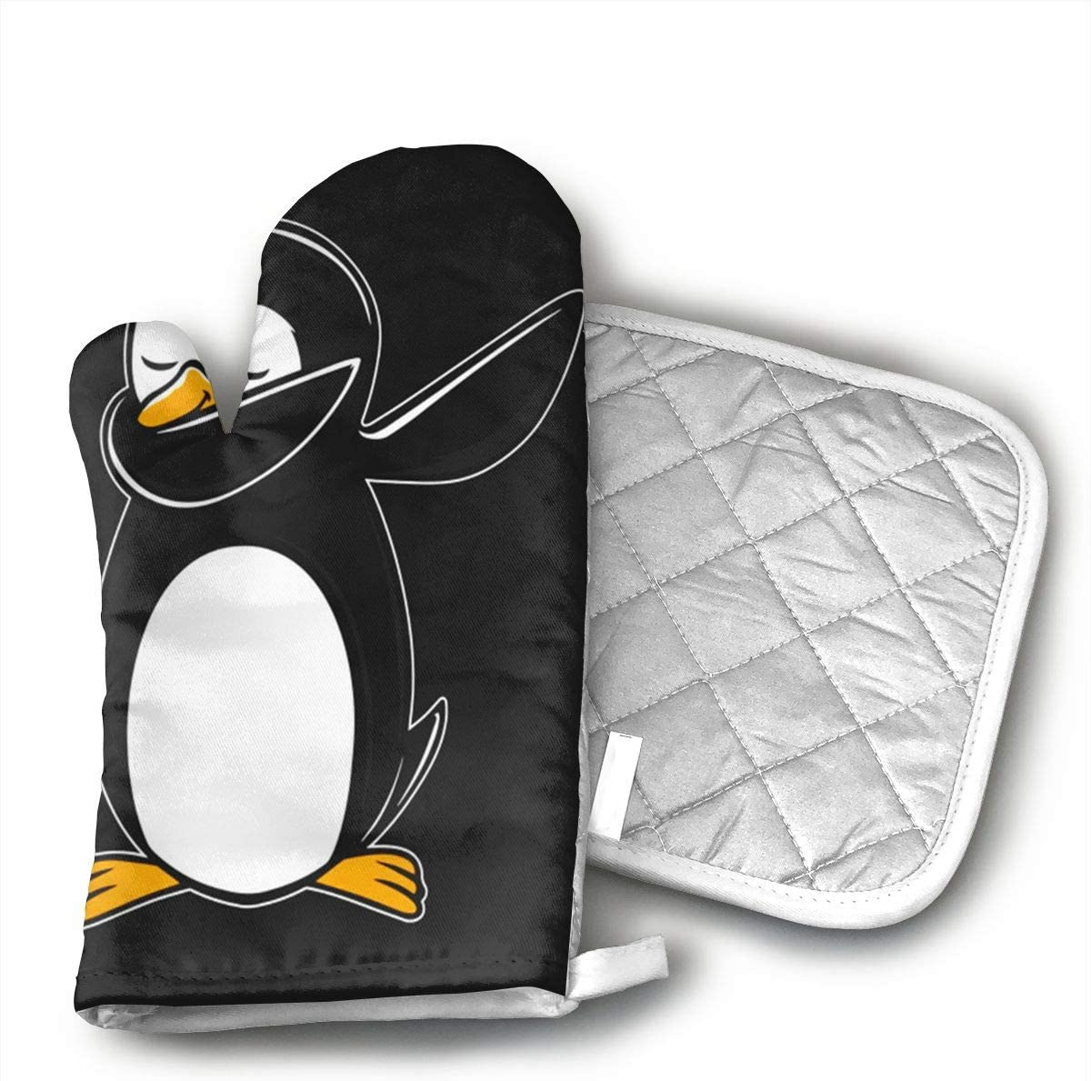 QEDGC Funny Penguin Oven Mitts Non-Slip for Home Kitchen Cooking Barbecue Microwave for Women/Men Machine Washable BBQ