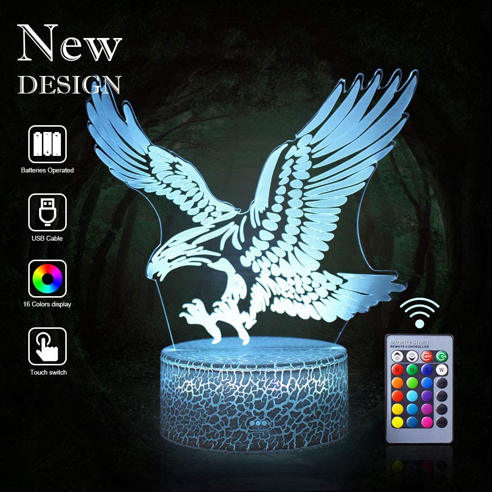Amazon Com Eagles Remote Control Night Lights 3d Optical Illusion 16 Colors Led Lamps Animals Lovers Home Bedroom Decor Birthday Party Gifts Art Deco Choices For Boys Kids Babes Friends Fathers Eagle Remote Home