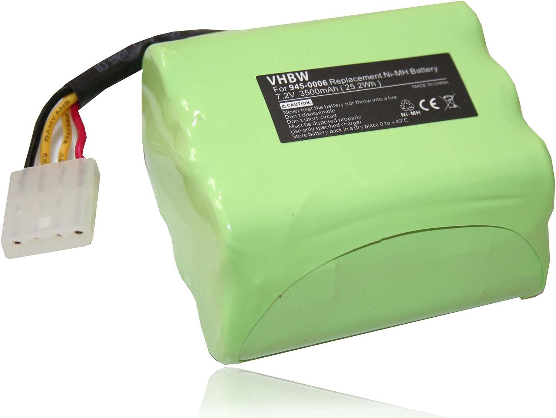 vhbw Batería de repuesto Ni-MH 3500mAh (7.2V) para robot aspirador ...