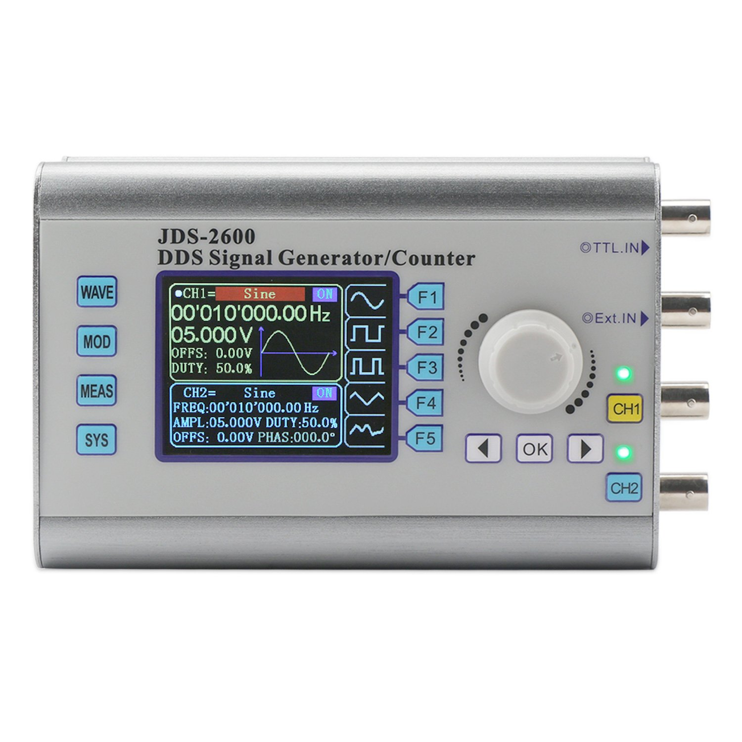 Function Generator, DROK DDS Signal Generator 15MHz High Precision Dual Channel Arbitrary Waveform Generator Counter Frequency Meter 266MSa/s 2.4 inch with LCD Display