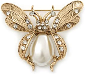 21a8cc15a98 Vintage Inspired Crystal, Simulated Pearl 'Bumble Bee' Brooch In Antique  Gold Tone -